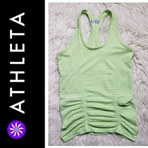 Athleta Light Green Stripe Fast Track Tank Top